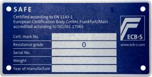 Format Waffenschrank - ECB-S Plakette Grad-0