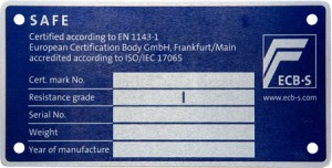 Format Waffenschrank - ECB-S Plakette Grad-1